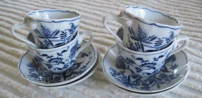 Four Blue Danube Cups and Saucers Made in Japan
