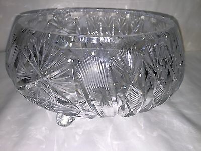 4 pound Vintage Cut Glass Bowl 3 footed dish ABP American Brilliant star Console
