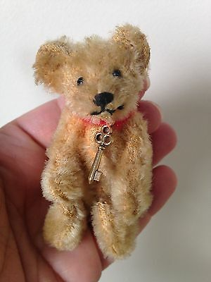 """RARE EARLY 1900s  Steiff Miniature Antique Mohair Jointed Bear 3"""" Must See NICE!"""