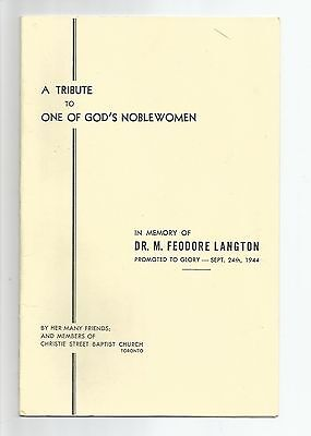 A tribute to Dr. M. Feodore Langton, Christie St. Baptist Church, Toronto, 1944