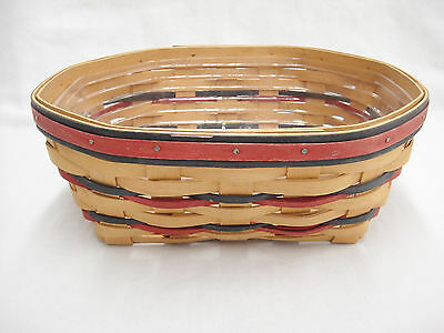 Longaberger Blue Ribbon Bread Basket with Protector Red Blue Accents 1999