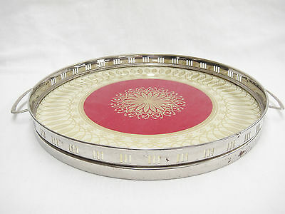 Vintage Two Sided Beverage Tray Handled Metal Rim Red and Gold Olives MCM