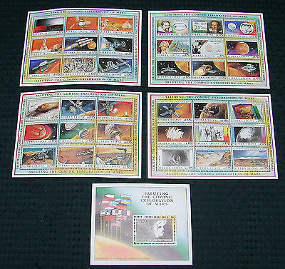 OPC 1990 Sierra Leone Exploration of Mars Space Sheets Sc#1167-1171 MNH