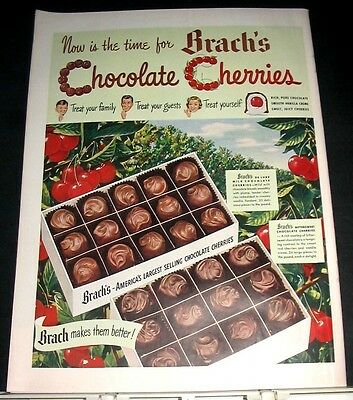 1949 Brach's Chocolate Cherries Candy Advert