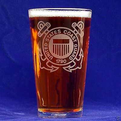 US Coast Guard 16oz etched Beer Glass set of 2