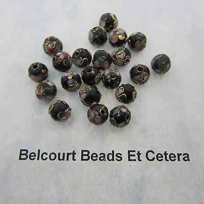 100 Black Cloisonne Loose Beads - Size  8mm Shape:  Round Gold Trim with Floral