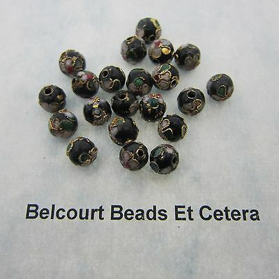 25 Black Cloisonne Loose Beads - Size  8mm Shape:  Round Gold Trim with Floral