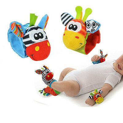 1Pcs random color Baby Soft Plush Stuff Hand Bell Wrist Rattle Animal Baby Toys