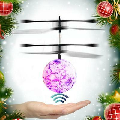 Blue&White Porcelain Flying Ball Flashing Light Aircraft Infrared Induction Toy