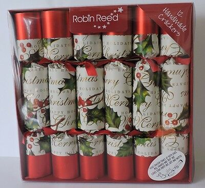 Robin Reed Set 12 Handmade Bows & Berries Holly Christmas Party Crackers NEW