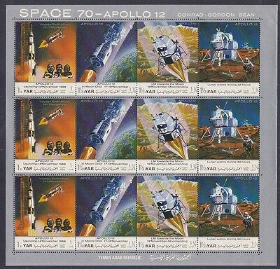 D29 Yemen MNH APOLLO 12 Space Moon Program Conrad Gordon & Bean Full Sheet of 12