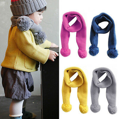 Fashion Baby Boy Girl Winter Neckerchiefs Solid Color Scarfs Knitted Warm Scarfs