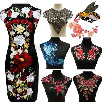 Lace Rose Flower Motif Collar Sew Patch Applique Badge Embroidered Bust Dress UK