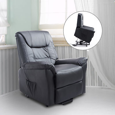 HOMCOM Lift Chair 3-position Power Recline Electric Leather Remote Control Black
