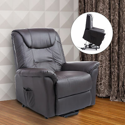 Lift Chair Brown Electric Power Recliner PU Leather Remote Control Comfortable