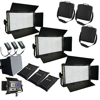 3xLED576ASVLY Bi-Color dimmbare LED-Video-Licht-Panel Softbox Tasche FLICKER FRE