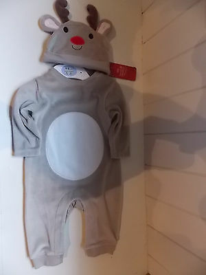 Babies Reindeer Baby Grow, Pyjama Suit, With Hat, Bnwt Marks & Spencer 3-6 Mths