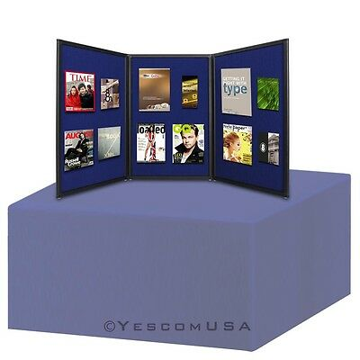 6Ft TableTop Folding 3 Panel Booth without Header Blue Trade Show Display Banner