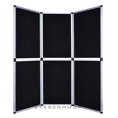 6' Folding 6 Panel Black Trade Show Display Booth Backdrop Triangle Tower Banner