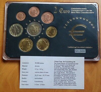 Uncirculated Luxembourg 8 Coin Euro Set