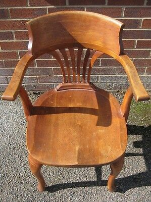 Art Deco antique solid mahogany captains office desk smokers bow elbow armchair