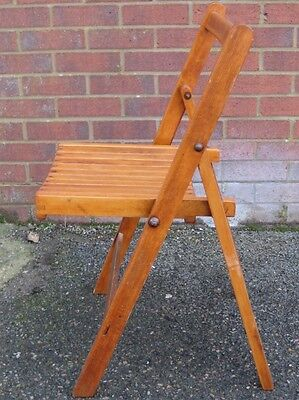 Antique Art Deco solid beech slatted folding vintage office desk side chair