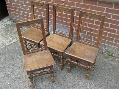 Set 4 19th century antique Jacobean style solid oak hall side backstool chairs