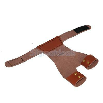 Brown Left Hand Archery Long Bow Arrow Hand Protector Guard 2 Finger Glove