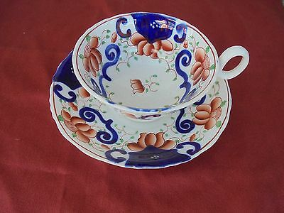 Antique China :  19th century pottery Gaudy Welsh Cup & Saucer - CREST Design