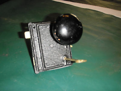 Antique In The Back Of Door Lock &black  Knob  With Key--Works