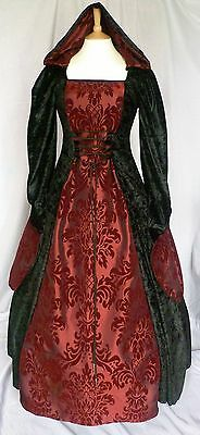 Medieval Goth Dress Renaissance Hooded Halloween Gown Pagan Custom Made to size
