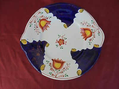 Antique China :19th century pottery Gaudy Welsh Cake  PLATE - TULIP Design