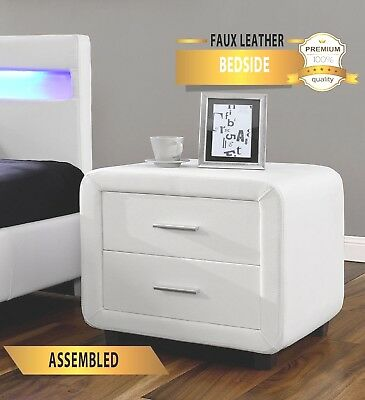 HARMIN Designer Faux Leather Bedside Table Cabinet Night Stand **Free Delivery