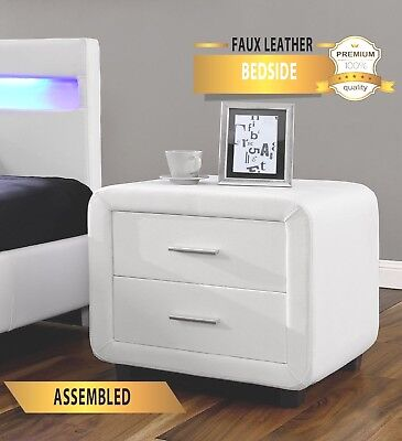 Harmin Faux Leather Bedside Table Cabinet Night Stand -4 Colour Options