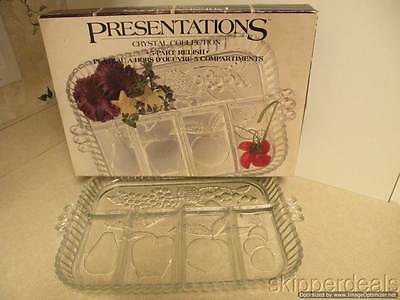 Presentations Crystal Clear 5 Part Relish Plate Indiana Glass Brand New In Box