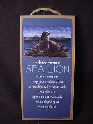 """ADVICE FROM A SEA LION Wisdom Love 10"""" X 5"""" Wood SIGN wall PLAQUE ocean nature"""