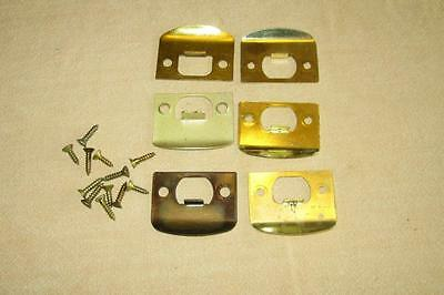 6 Vintage Door Latch Striker Plates & Screws Hardware Parts