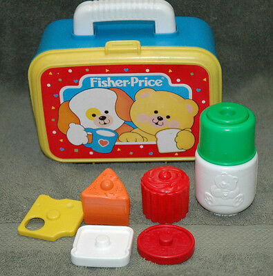 VINTAGE FISHER PRICE~SHAPE SORTER LUNCH BOX~Thermos & Pieces~Teaching
