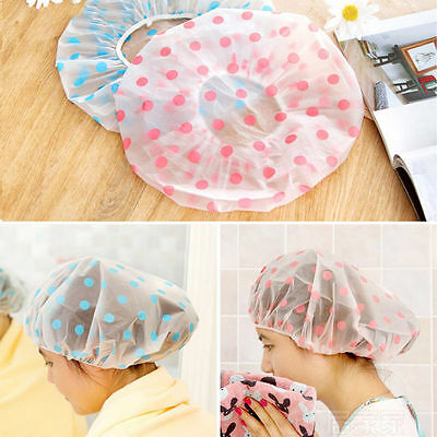 Women Waterproof Wave Point Elastic Plastic Shower Bathing Salon Hair Cap