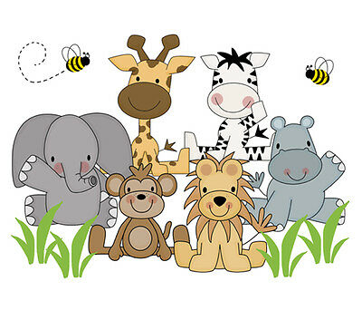 Safari Nursery Decor Wall Art Decal Jungle Animals Mural Stickers Baby Shower