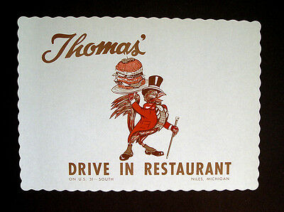 1950-60s THOMAS DRIVE IN RESTAURANT NILES MICH CROW ADVERTISING SIGN PLACE MAT
