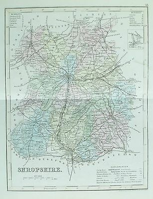 OLD ANTIQUE MAP SHROPSHIRE c1840's by J ARCHER ENGRAVING LATER HAND COLOUR