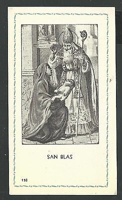 Estampa antigua de San Blas image pieuse holy card santino