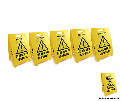 5 Pack Bentley Quality Caution Wet Floor Sign and Cleaning In Progress Sign