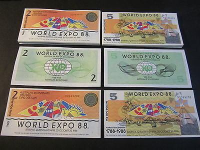 Lot of 100 pieces - Australia 1988 World Expo - 50 each $2 and $5 Notes
