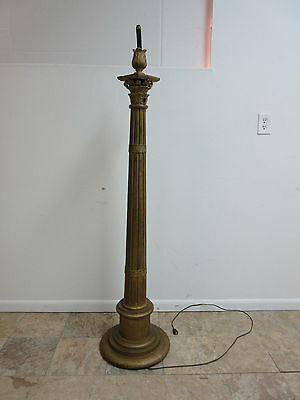 Antique Victorian Gold Wood Column Masonic Taper Candle Pole Lamp Gothic A