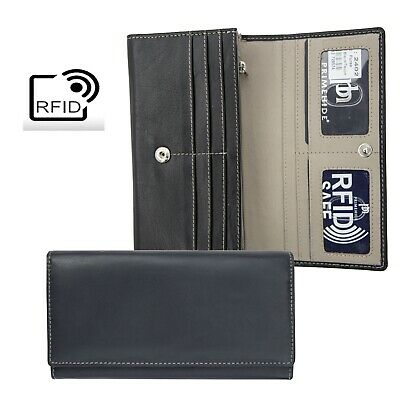 Prime Hide Celino RFID Blocking Black and Taupe Leather Matinee Purse NEW