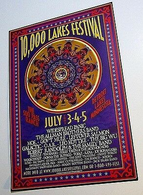10,000 Lakes Festival Concert Poster Allman Bros Widespread Panic Gov't Detroit