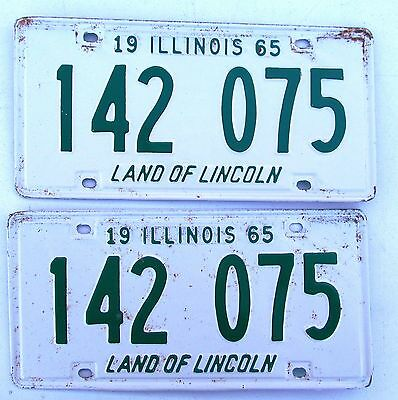 Illinois 1965 License Plate PAIR # 142 075