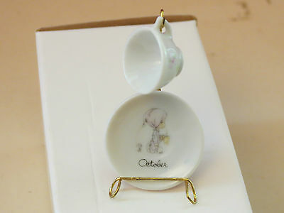 Precious Moments~OCTOBER MO.MINIATURE CUP & SAUCER WITH STAND~MADE IN JAPAN ENES